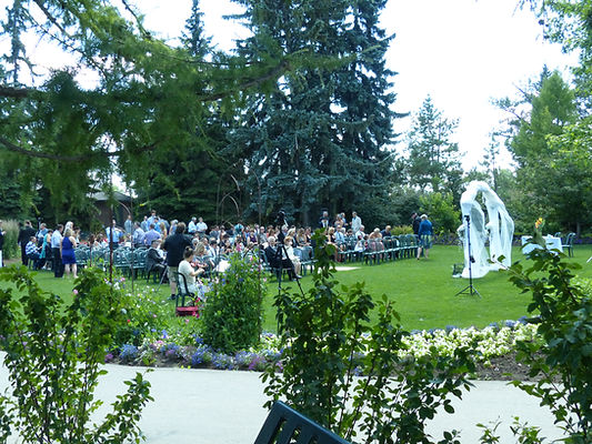 Alexandra and Kyle's outdoor wedding in Calgary, AB, with violin playing by BG Mountain Studio.
