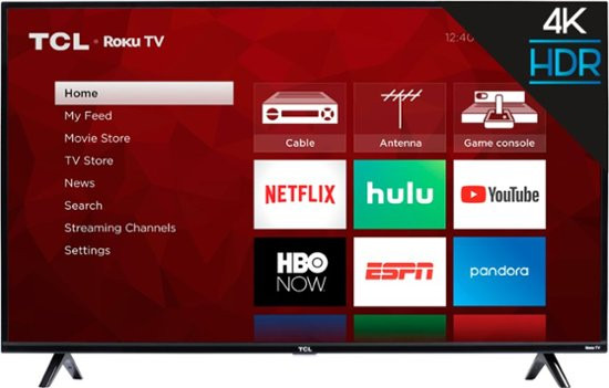 TCL Roku 4K UHD HDR TV Television, Netflix, hulu, youtube, hbo, disney plus, apple plus