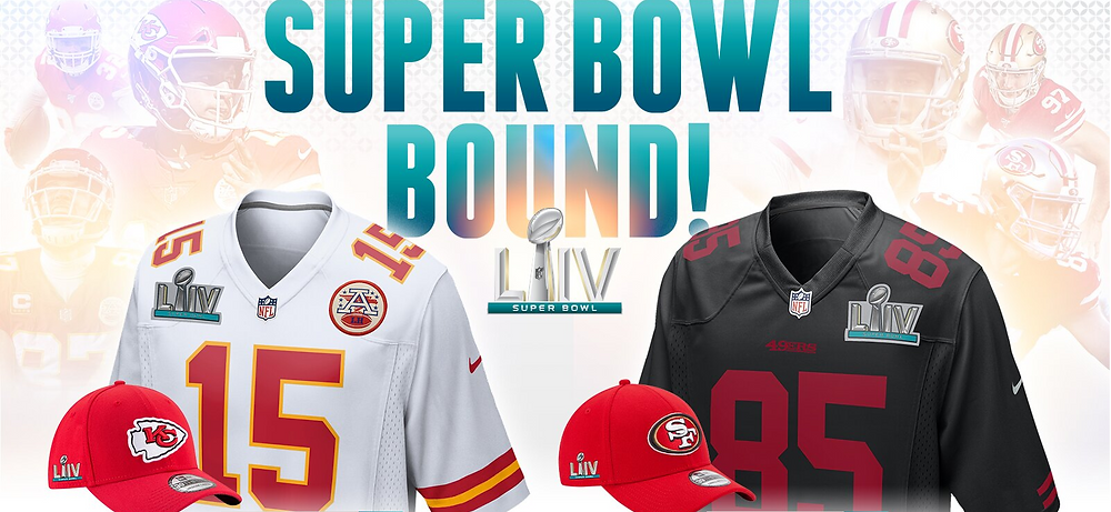 Super Bowl 2020 Chiefs 49er's 2020 conference champs apparel gear swag NFL Football hats jerseys hoodies