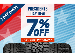 Presidents day coupon 7% off all tire purchases from TireBuyer.com