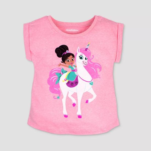 75% off Toddler Girls' Nickelodeon Nella the Princess Knight Unicorn Short Sleeve T-Shirt