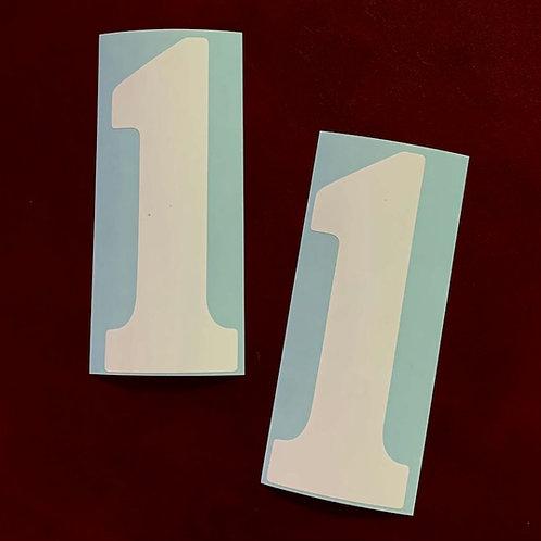 adhesivo derbi número uno placa frontal