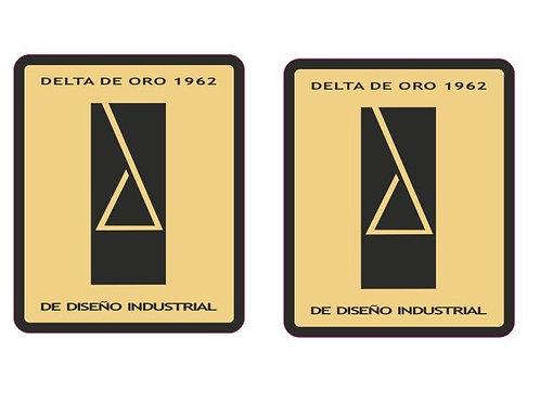 adhesivo vintage delta oro para moto