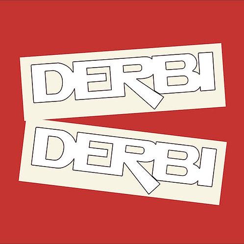 Adhesivos Derbi letras blancas