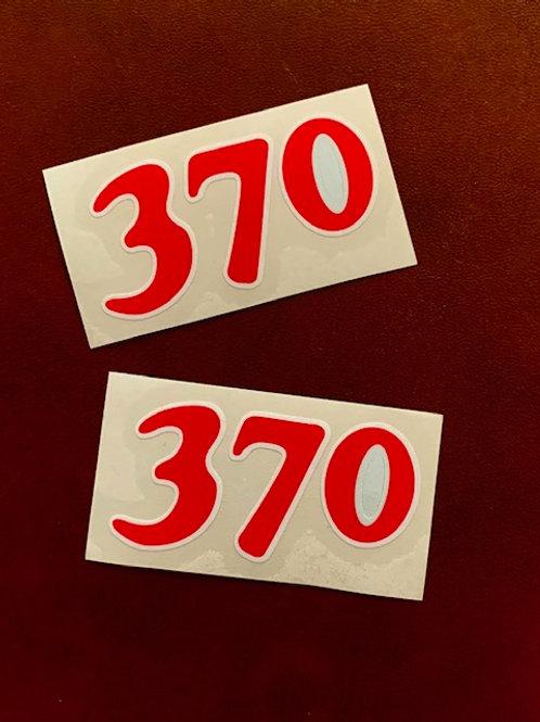 adhesivo moto Bultaco número 370 rojo
