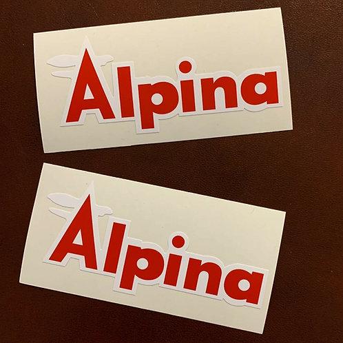 adhesivo moto Alpina rojo