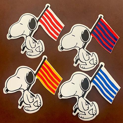 adhesivos snoopy con banderas para decoración