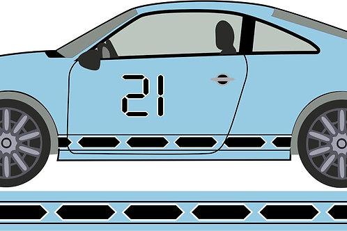 vinilo franja lateral coche número 21