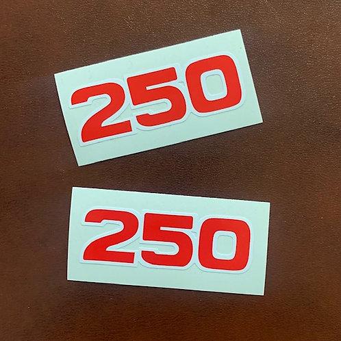 adhesivos moto bultaco números 250 rojo