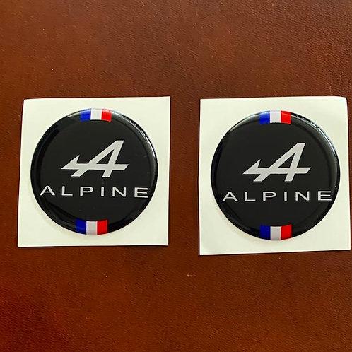 Alpine anagrama en relieve decoración coche