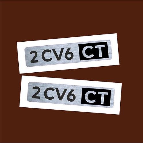 adhesivo metalizado anagrama 2CV coche