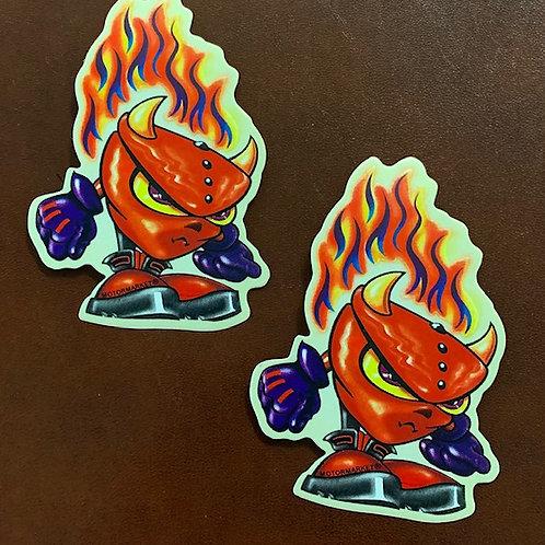 pegatina decorativa demonio llamas