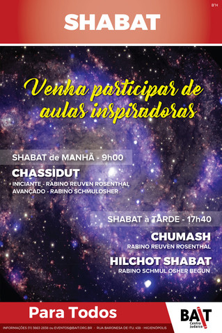 Aulas inspiradoras no Shabat