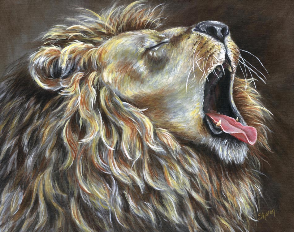 Custom painted lion in acrylic