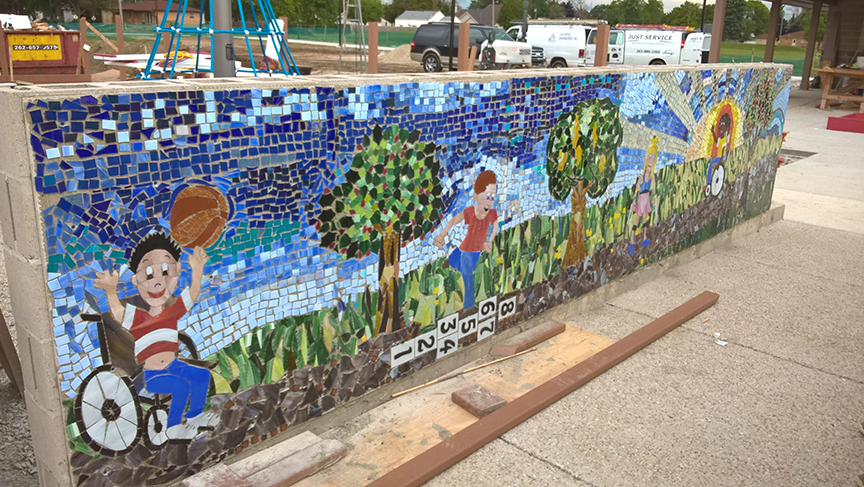 glass mosaic children in playground