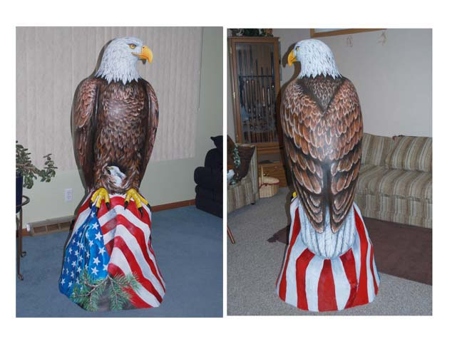 Cusstom painted eagle sculpture