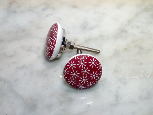 Flat red with white flower silver kn-521