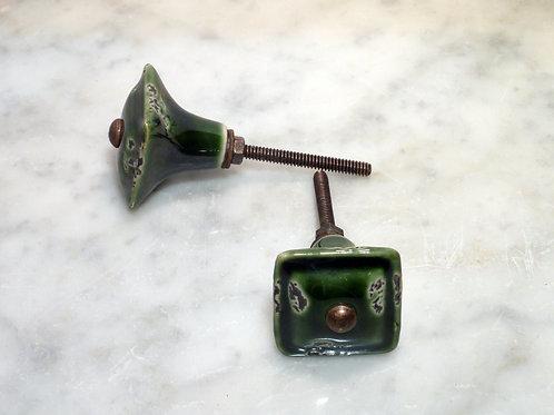 Shabby quadratisch forestgreen Antik kn-20