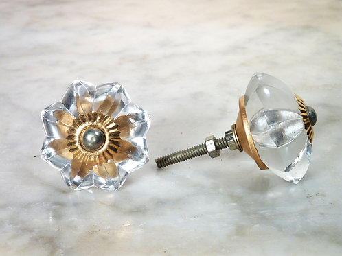 Big Clear Glas Knob Gold GFK-12