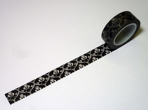 filigranes weisses Ornament auf schwarz WT-#1263