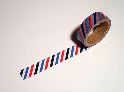 Stripes schräg schwarz/weiss/rot/blau WT-#556