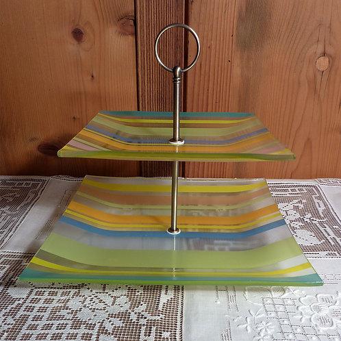 2er Glas quadratisch Streifen bunt Nr. 180