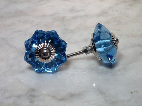 Big Blue Glas Knob Silver GFK-04