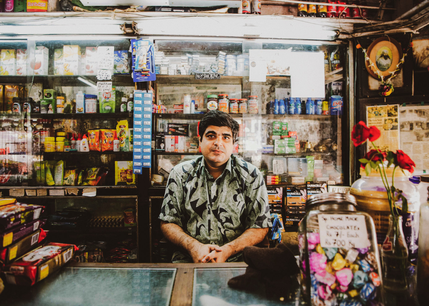 Mirza, son of Agha Nazariyan, at the counter of Cafe Colony at Dadar (East). The diligent owner sits at the workstation, strategically located from where he can manage the staff. The owners of Irani cafes are famous for their no-nonsense attitude as they get work done with minimum fuss.