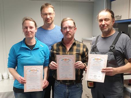 Auszeichnungen für langjährige Mitarbeitern der Druckerei Schütz GmbH - Kamenz