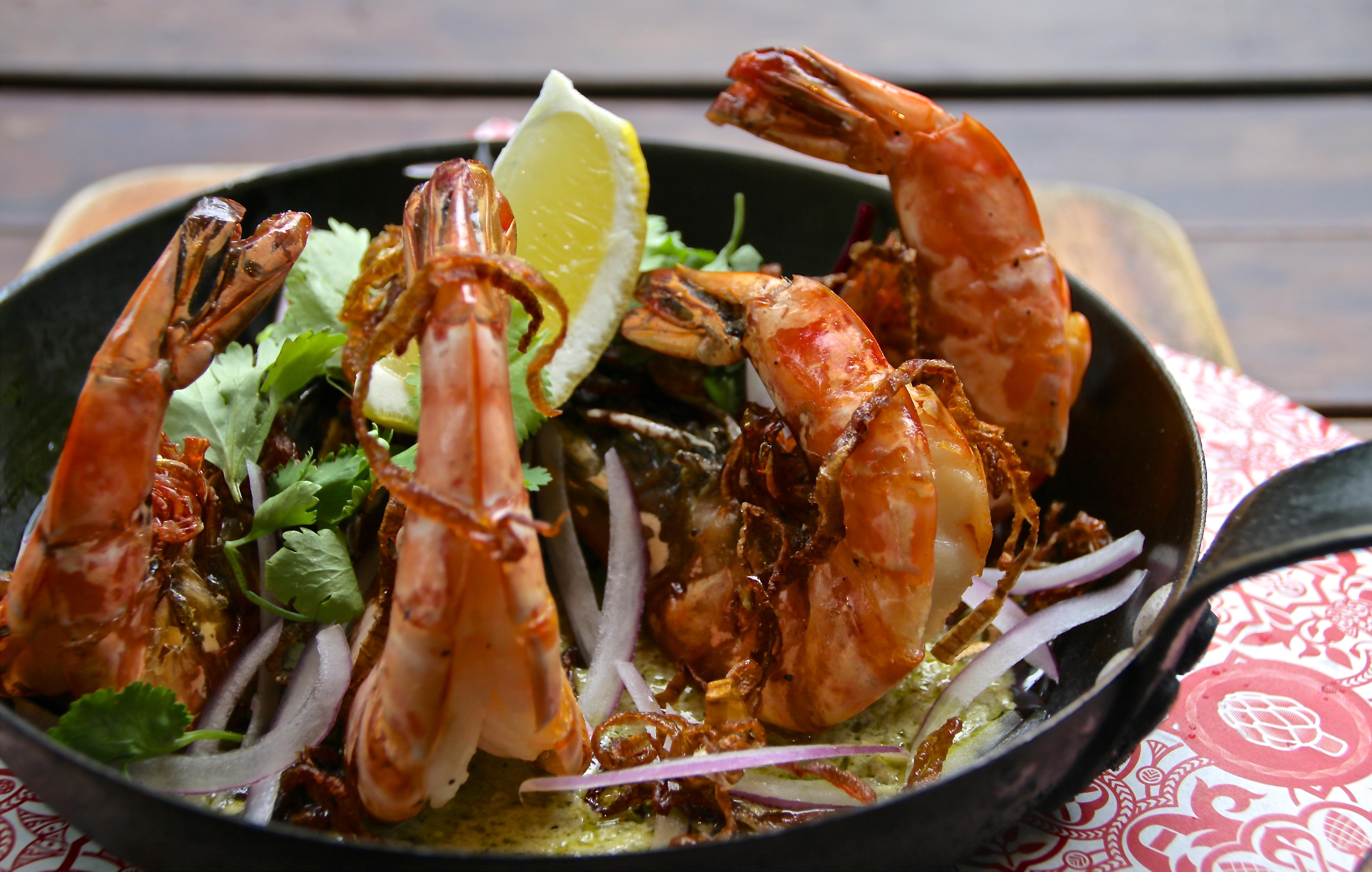 Artichoke Dinner - Harissa Prawns