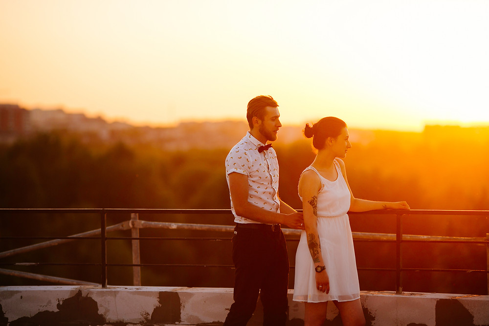 outdoor bride and groom with sunset