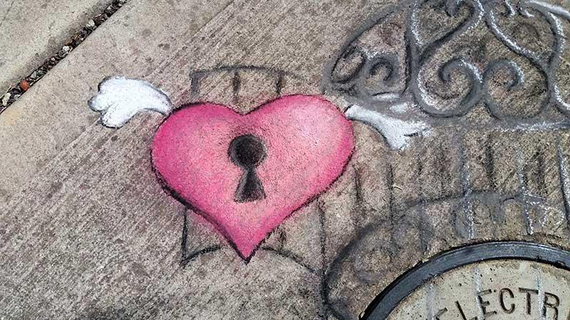 free heart chalk art