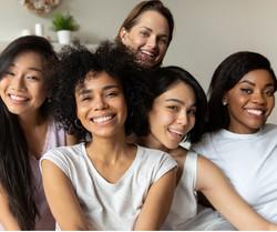 multi racial girls at pajama party
