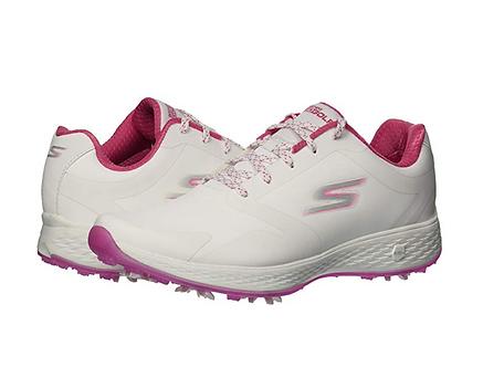 Skechers Zapatos GoGolf Mujer Contra Agua Blanco con Rosa