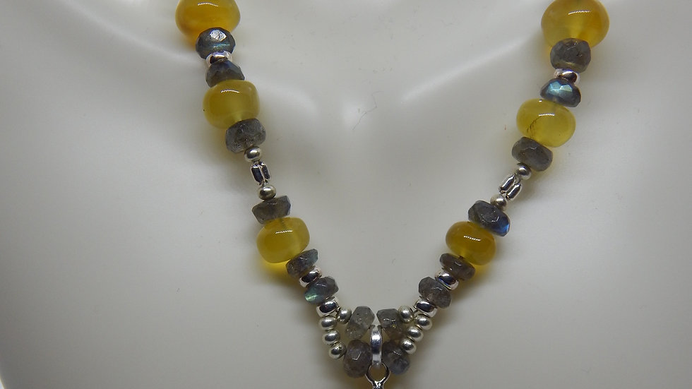 Labradorite, Yellow Chalcedony, and Sterling Silver Necklace