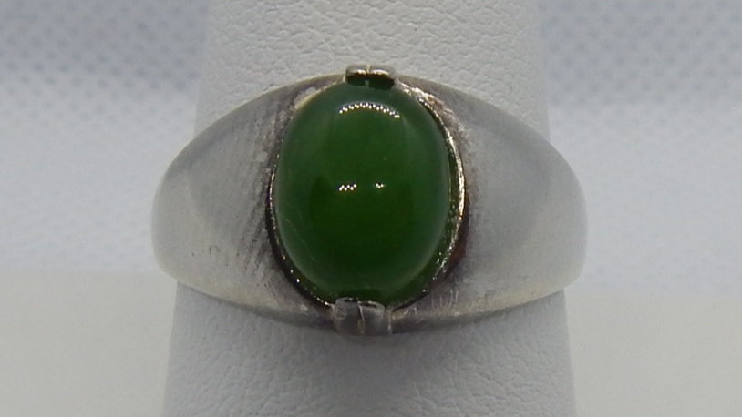 Men's Grade A Siberian Nephrite Jade and Sterling Silver Ring
