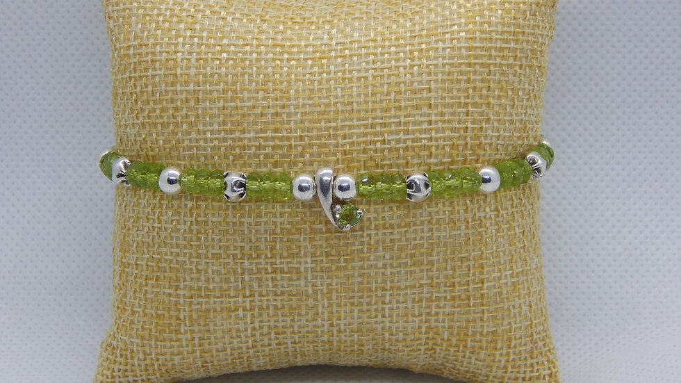 Peridot, Hill Tribe Silver, and Sterling Silver Bracelet