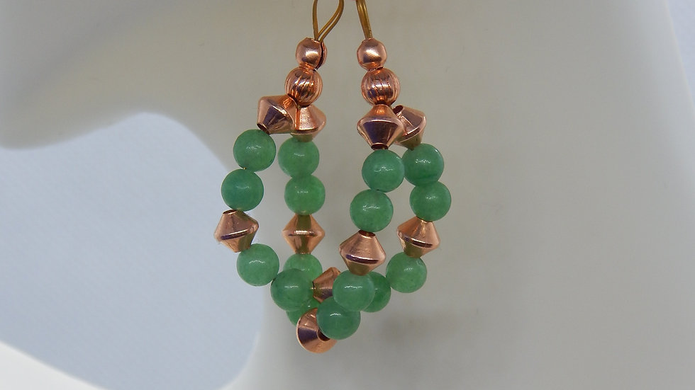 Green Aventurine and Copper Bracelet and Earrings Set