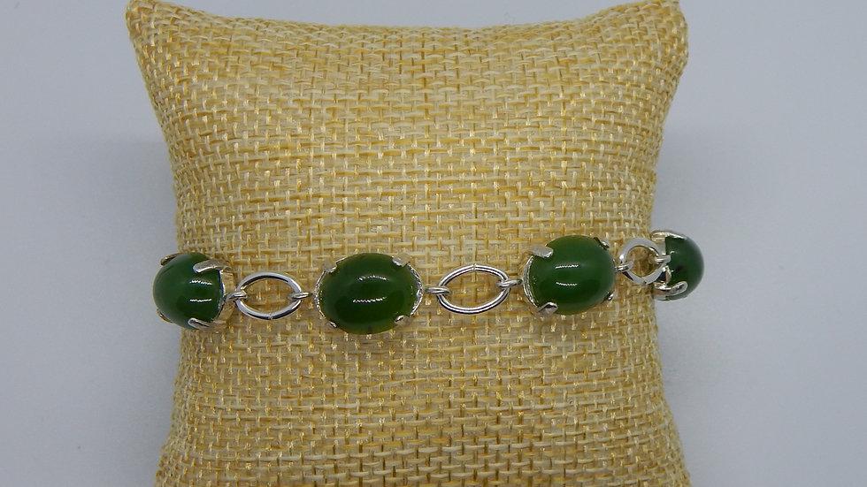 Siberian Nephrite Jade & Sterling Silver Link Bracelet