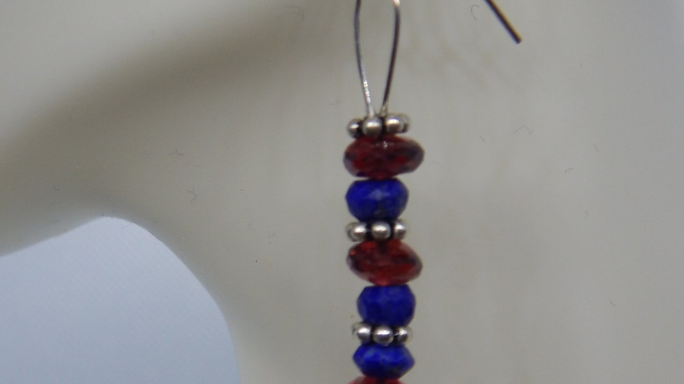 Garnet, Lapis Lazuli, and Sterling Silver Earrings