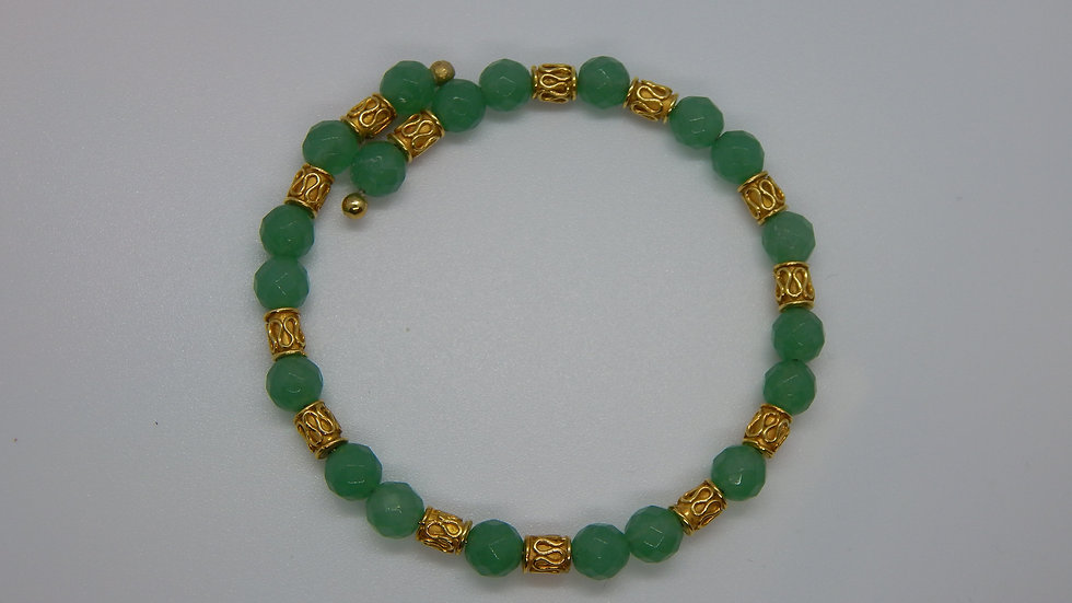 Green Aventurine & Gold Vermeil Wrap Bracelet