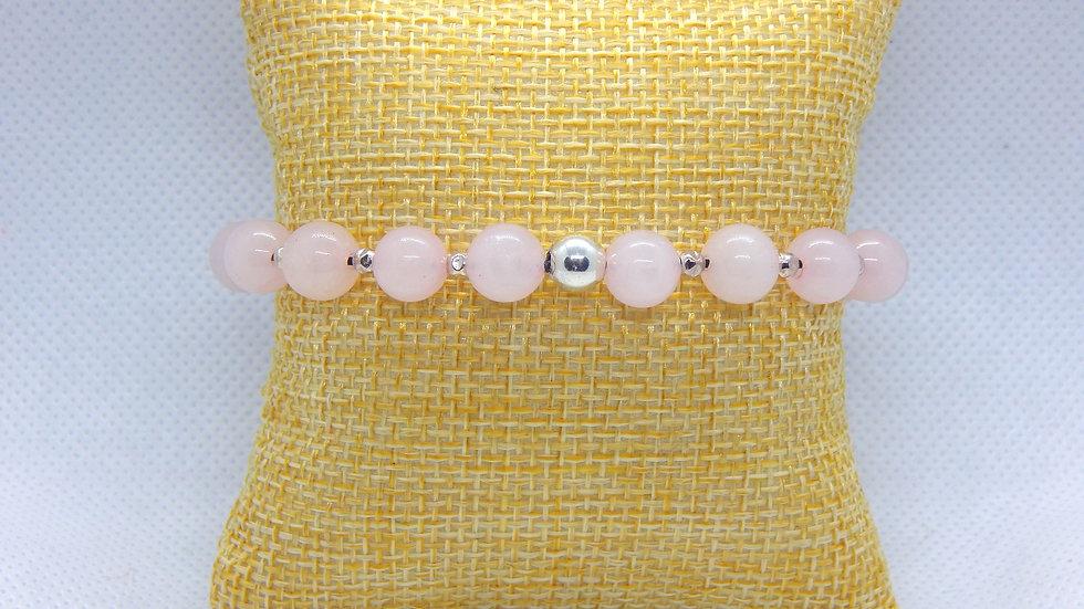 Rose Quartz and Sterling Silver Stretch Bracelet