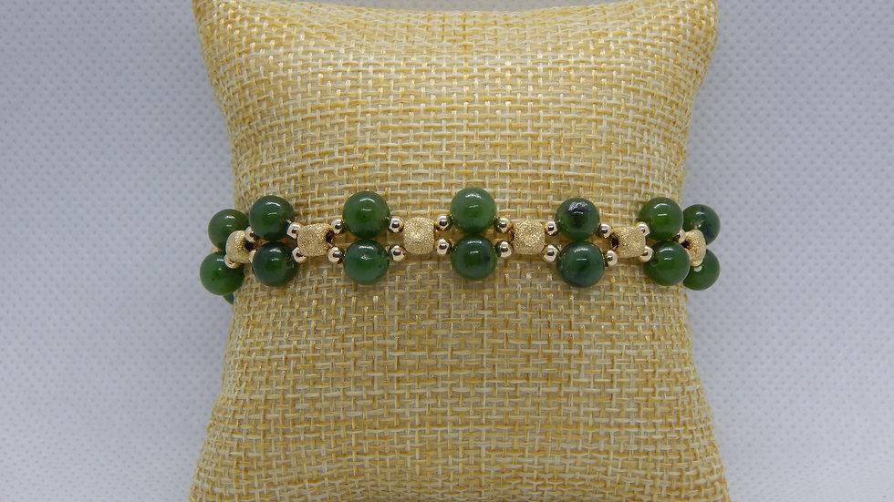 Nephrite Jade and 14K Gold Bracelet