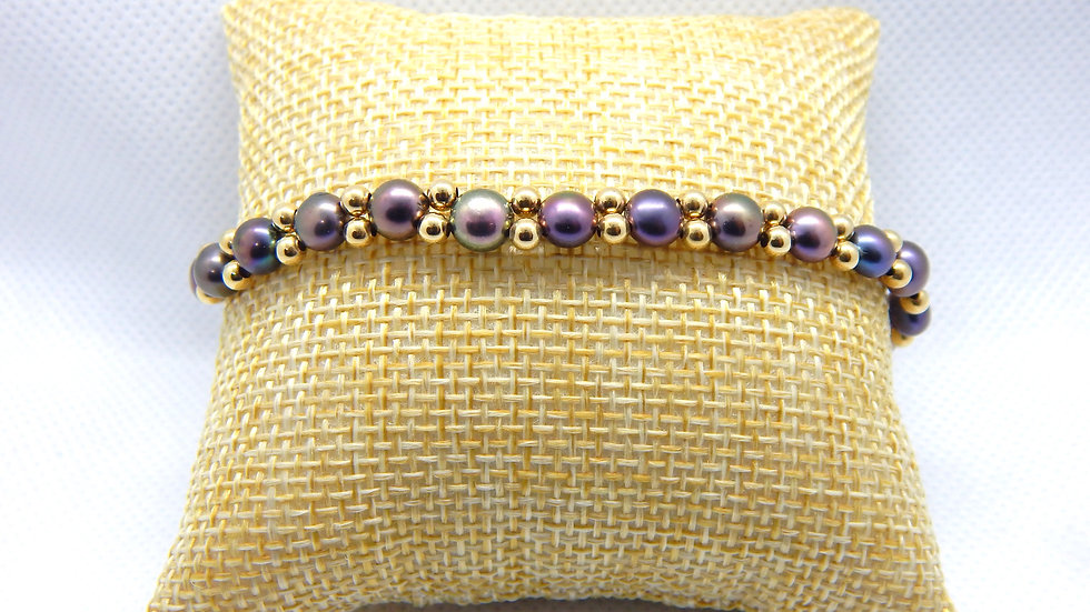 Pearl and Gold Filled Bead Bracelet