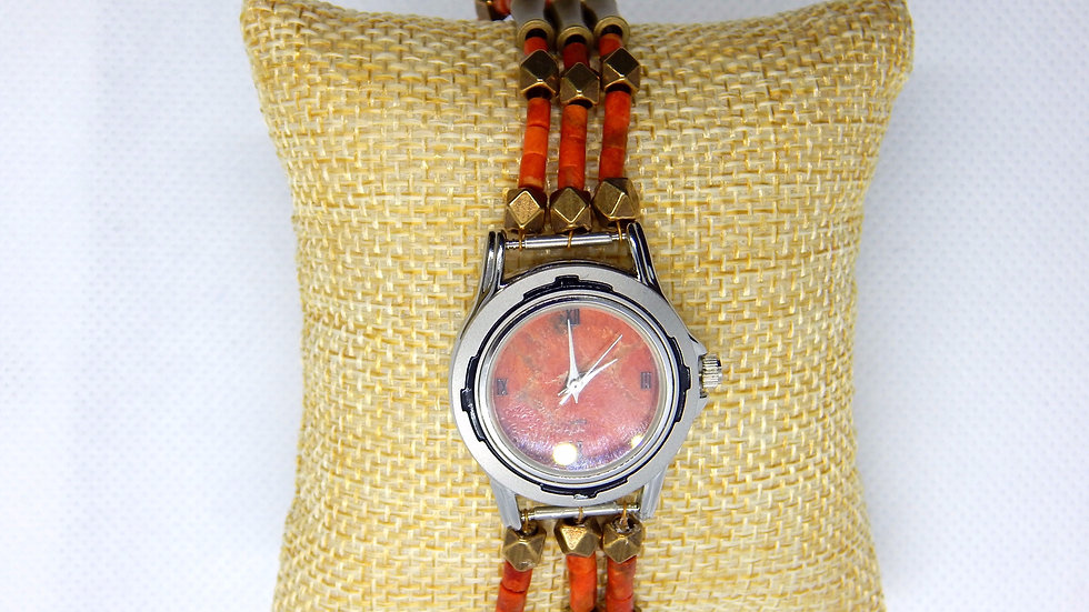 Women's Apple Coral and Brass Watch