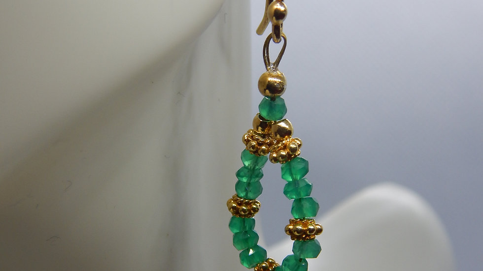 Green Onyx and Gold Vermeil Earrings