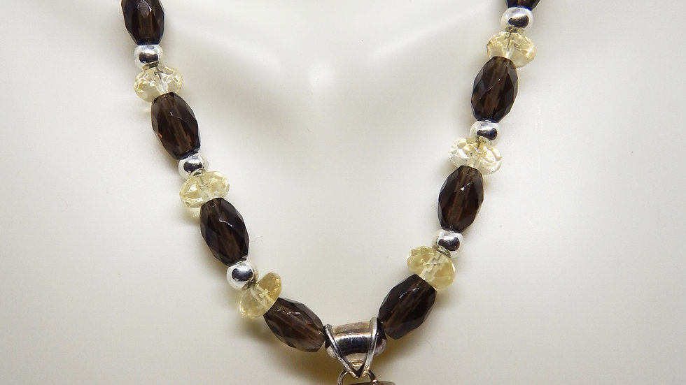 Citrine, Smoky Quartz, and Sterling Silver Choker