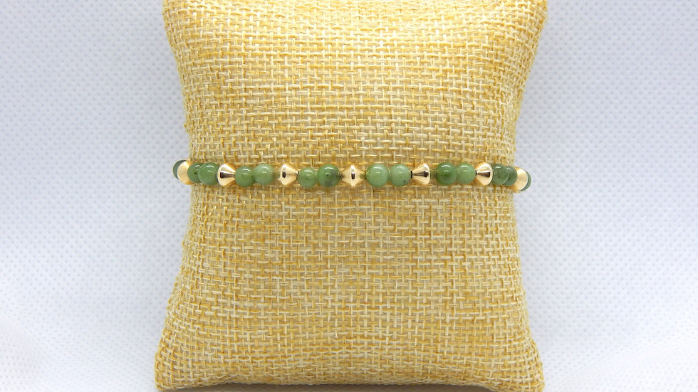 Nephrite Jade and Gold Filled Bracelet (Bicone)