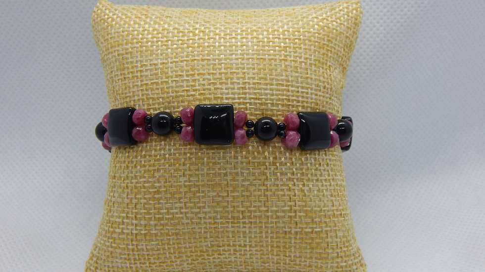 Ruby, Black Onyx, and Black Spinel Bracelet