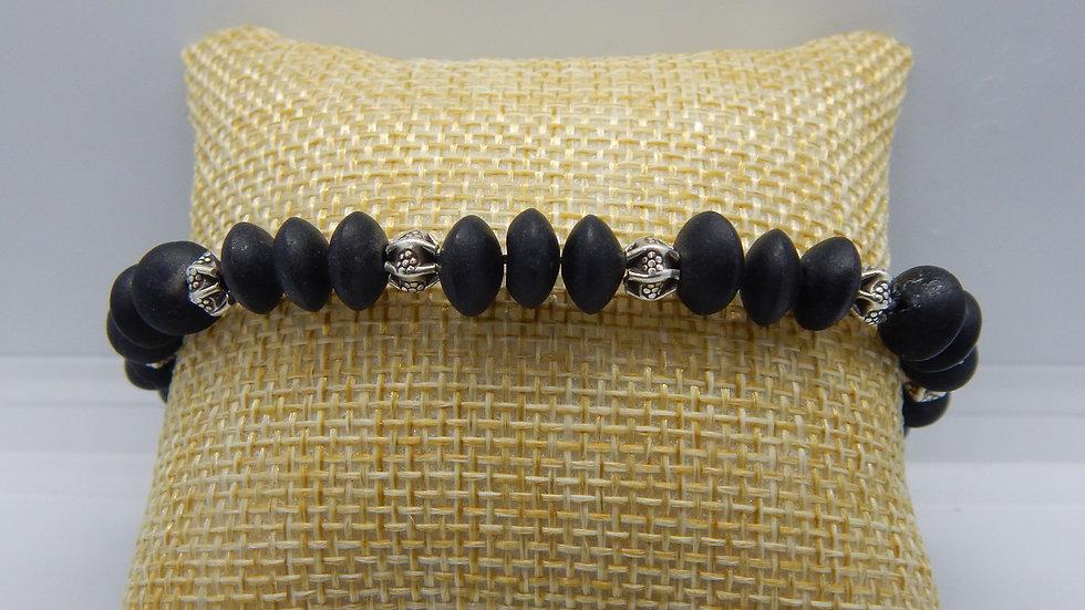 Matte Black Onyx and Sterling Silver Stretch Bracelet